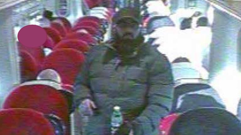 CCTV footage shows Usman Khan on a train where he is believed to have put on a fake suicide belt