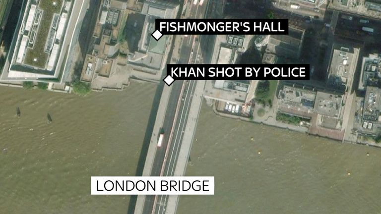 Usman Khan attacked people in Fishmongers' Hall before being chased on to London Bridge