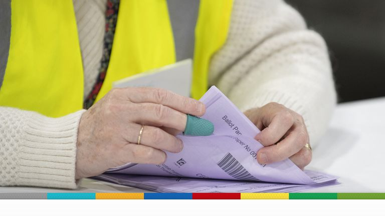 Votes being counted at Ingliston Highland Centre, Edinburgh