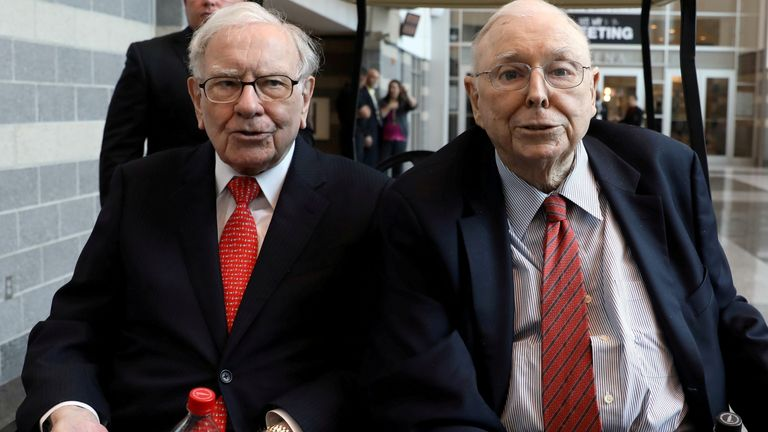 Berkshire Hathaway Chairman Warren Buffett (left) and Vice Chairman Charlie Munger are seen at the annual Berkshire shareholder shopping day in Omaha, Nebraska, U.S., May 3, 2019