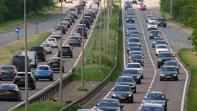 Heavy traffic on the A127 near Basildon in Essex