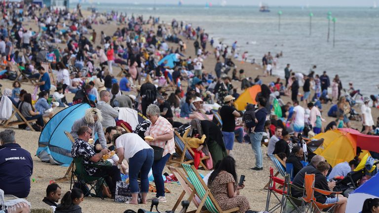 People on Southend beach