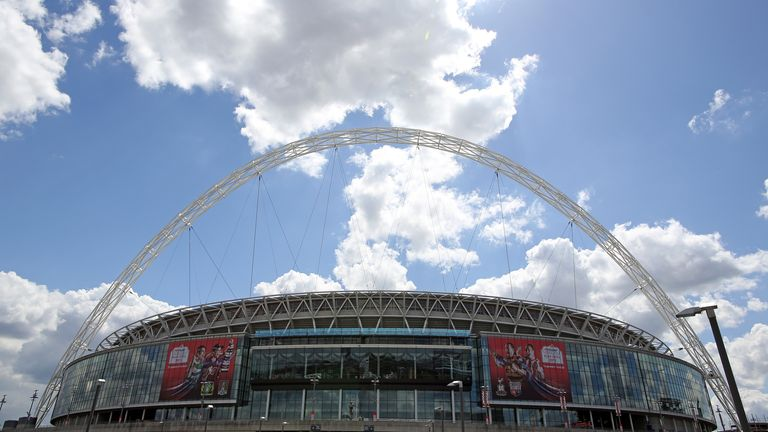 An exterior view of the Wembley Stadium is pictured in London, Great Britain, 16 May 2013. The final UEFA Champions League match takes place at the stadium on 25 May 2013. Photo by: Kevin Kurek/picture-alliance/dpa/AP Images