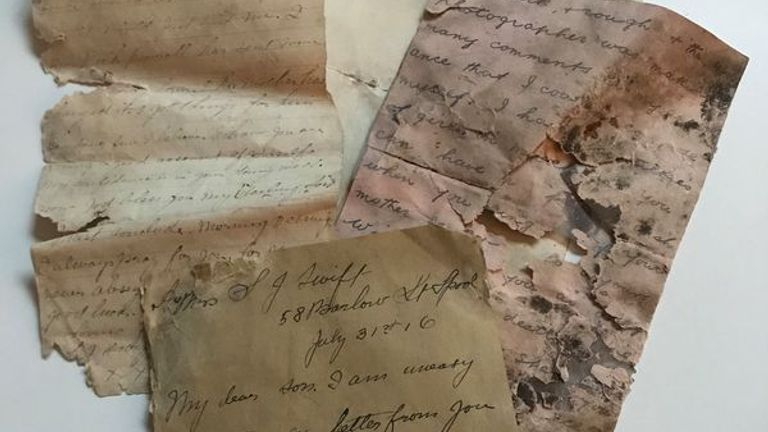 Letters sent to Lance corporal William Swift during First World War that have been unearthed from an apartment in Northern France. Pic: Memorial 14-18 Notre Dame de Lorette Facebook