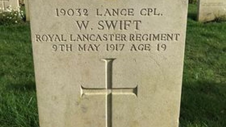 Lance corporal William Swift's grave in Tilloy British Cemetery in northern France Pic: Memorial 14-18 Notre Dame de Lorette Facebook