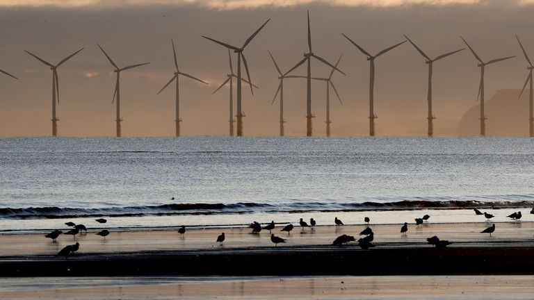 An offshore wind farm, pictured off Hartlepool in 2019. Record levels of wind power were generated on Monday, figures show