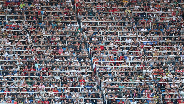 Soccer Football - World Cup - Third Place Play Off - Belgium v England - Saint Petersburg Stadium, Saint Petersburg, Russia - July 14, 2018 General view of fans in the stadium during the match REUTERS/Sergio Perez TPX IMAGES OF THE DAY