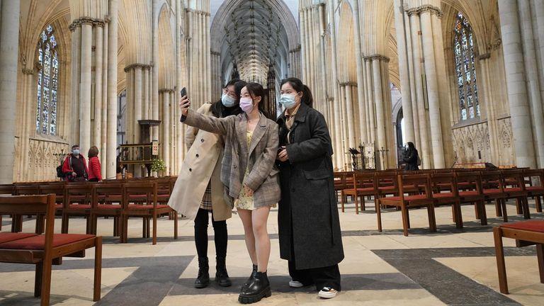 Selfies in York Minster, open once again