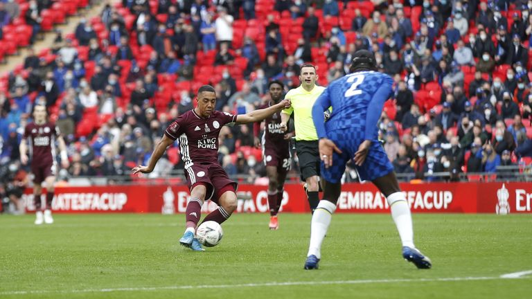 Leicester City's Youri Tielemans scores their first goal of the game during the Emirates FA Cup Final at Wembley Stadium, London. Picture date: Saturday May 15, 2021.
