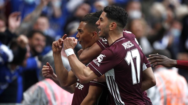 Leicester City's Youri Tielemans (left) celebrates scoring their first goal of the game with teammates during the Emirates FA Cup Final at Wembley Stadium, London. Picture date: Saturday May 15, 2021.