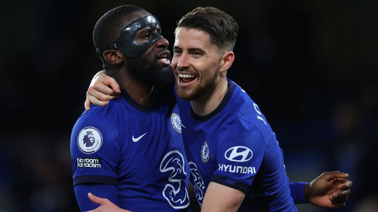 Chelsea goalscorers Antonio Rudiger and Jorginho