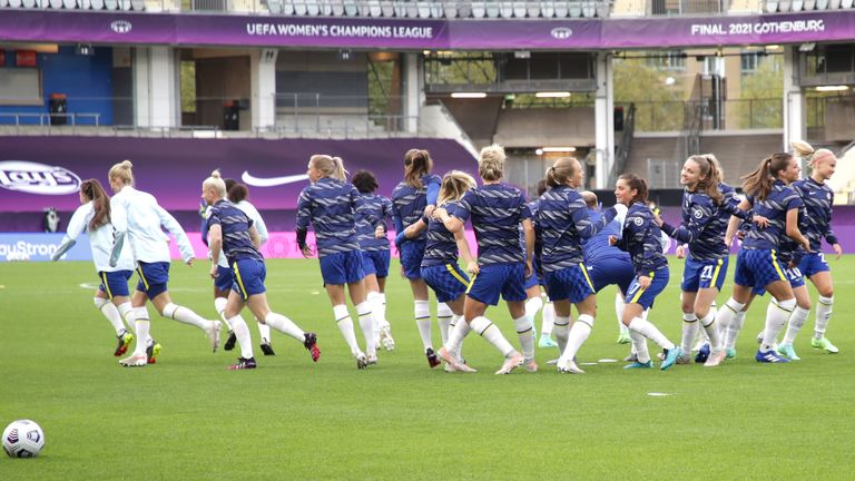 Chelsea players warming up prior to kick-off during the UEFA Women's Champions League final