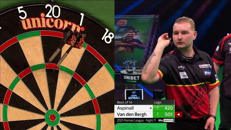 Dimitri Van den Bergh hits a 120 checkout against Nathan Aspinall