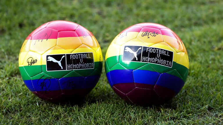 WALSALL, ENGLAND - DECEMBER 05: A detailed view of Football v Homophobia rainbow balls ahead of the Barclays FA Women's Super League match between Aston Villa Women and Manchester United Women at Bank's Stadium on December 05, 2020 in Walsall, England. (Photo by Catherine Ivill/Getty Images)