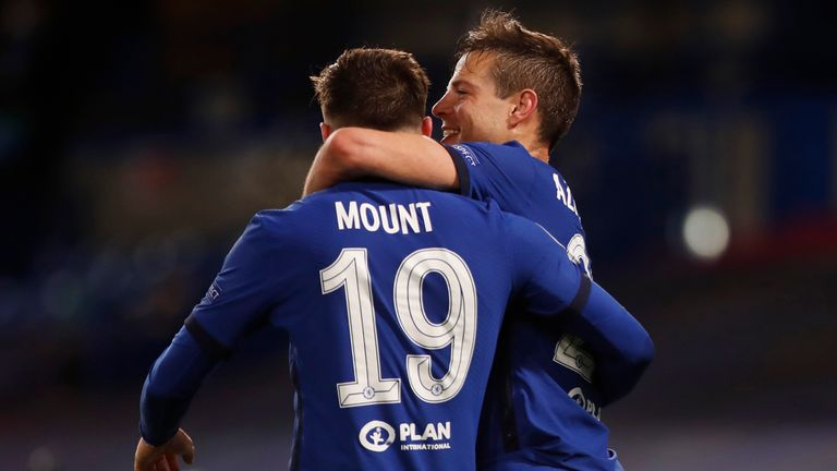 Mason Mount and Cesar Azpilicueta celebrate as Chelsea reach the Champions League final