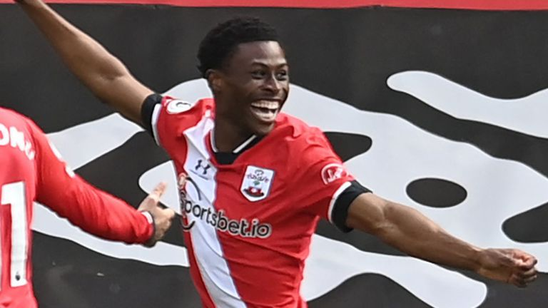A joyous Nathan Tella reacts after putting Southampton 2-0 up against Fulham