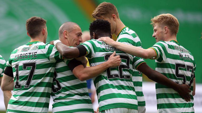 Celtic's Odsonne Edouard celebrates scoring the second goal against St Johnstone