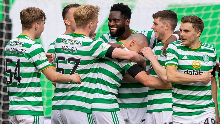 Celtic's Odsonne Edouard (centre) celebrates his goal with Scott Brown and teammates after  making it 2-0 during the Scottish Premiership match between Celtic and St Johnstone at Celtic Park