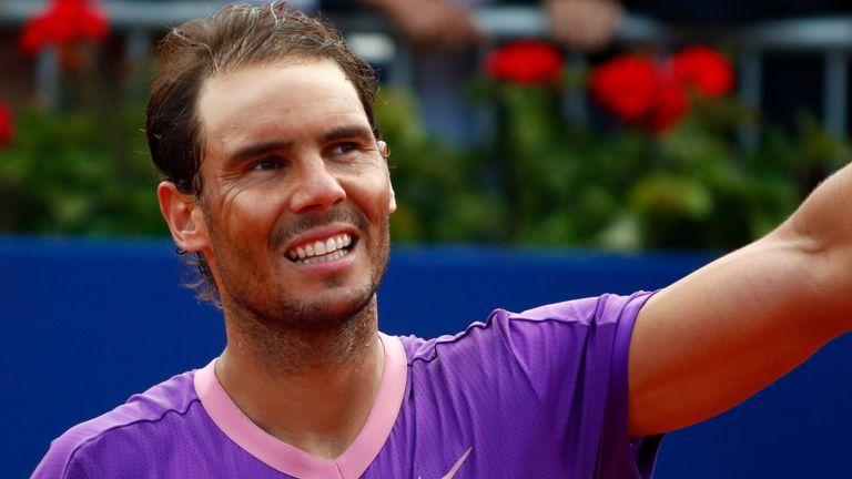 Rafael Nadal of Spain celebrates his victory over Pablo Carreno Busta of Spain after a semi final Godo tennis tournament in Barcelona, Spain, Saturday, April 24, 2021. Nadal won 6-3 / 6-2. (AP Photo/Joan Monfort)
