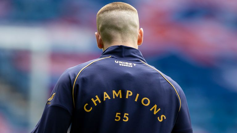 Rangers wear 'Champions 55' on their warm-up tops before facing Aberdeen at Ibrox