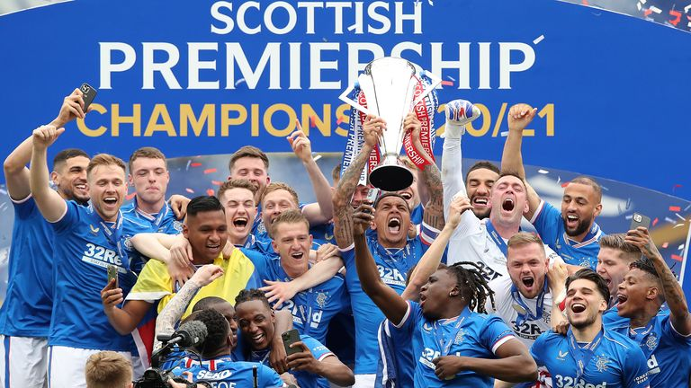 James Tavernier lifts the Scottish Premiership Trophy