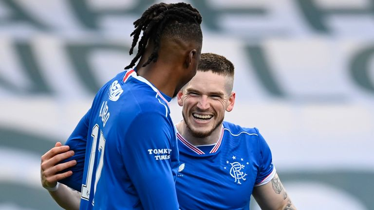 Ryan Kent celebrates his goal to make it 2-0 Rangers during the Scottish Premiership match between Livingston and Rangers at the Tony Macaroni Arena