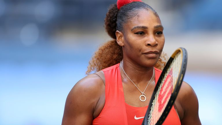 Serena Williams in action against Sloane Stephens during a women's singles match at the 2020 US Open, Saturday, Sept. 5, 2020 in Flushing, NY. (Simon Bruty/USTA via AP)