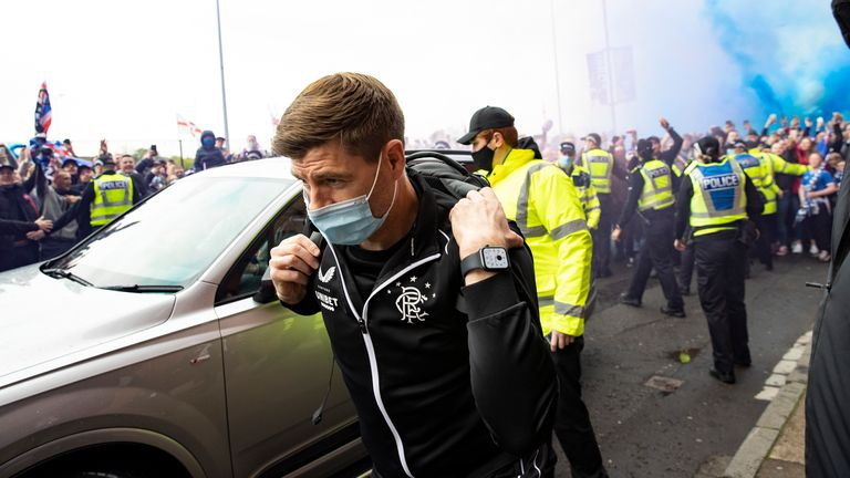 Rangers manager Steven Gerrard arrives at Ibrox before the Aberdeen game