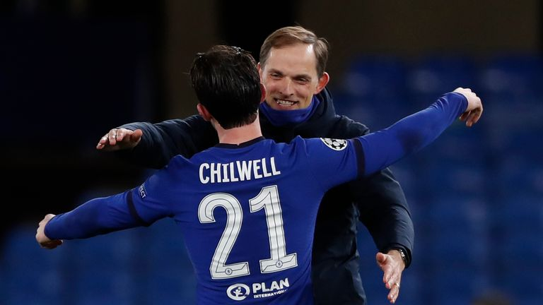 Thomas Tuchel celebrates with Ben Chilwell after Chelsea made it to the Champions League final