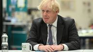 Prime Minister Boris Johnson talks with lecturers and students in the Arts and Design department during a visit to Kirklees College Springfield Sixth Form Centre in Dewsbury, West Yorkshire. Picture date: Friday June 18, 2021.