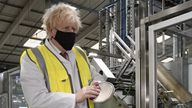 Prime Minister Boris Johnson during a visit to a factory while campaigning in the constituency ahead of the Batley and Spen by-election