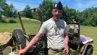 """Normandy local Emmanuel Lejemtel was """"sharing his passion"""" for D-Day by letting families ride in his a wartime style Jeep"""