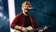 Sheeran is pictured at Glastonbury in 2017