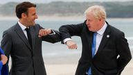 Britain's Prime Minister Boris Johnson greets France's President Emmanuel Macron, during the G7 summit in Carbis Bay, Cornwall, Britain, June 11, 2021. REUTERS/Phil Noble/Pool