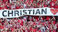 Denmark supporters display banners for Christian Eriksen