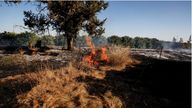 A field on fire is seen after Palestinians in Gaza sent incendiary balloons over the border between Gaza and Israel