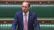 Health Secretary Matt Hancock speaks in the House of Commons