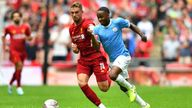 Jordan Henderson and Raheem Sterling in action during the 2019 FA Community Shield