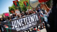 Protesters marching after a Juneteenth rally in Brooklyn, New York, in June last year