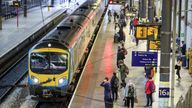Commuters at Leeds railway station. Train services will be ramped up from today as schools in England and Wales reopen and workers are encouraged to return to offices