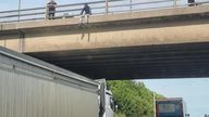 A lorry driver parked below a bridge on the M62 amid fears a man was going to jump off it. Pic: Vulnerable Citizen Support Leeds