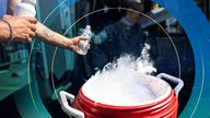 People use dry ice to cool water in Portland, Oregon