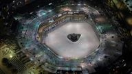 General view of Kaaba at the Mecca's Grand Mosque almost empty of worshippers in 2020