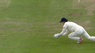 Jones catches Pandey down the leg-side