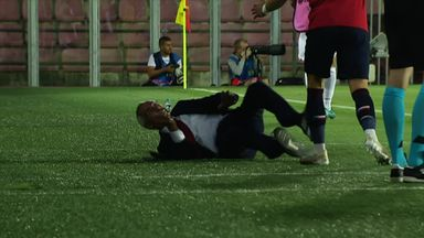 Coufal sends Albania manager flying