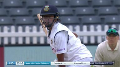 Goswami goes to end India's first innings