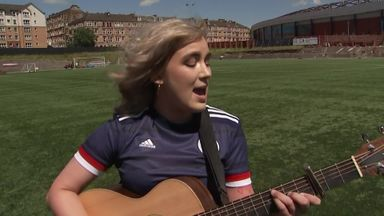 Rianne Downey performs the Scottish national anthem