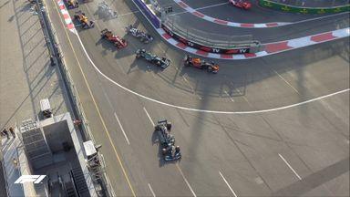 Hamilton locks up, runs off track!