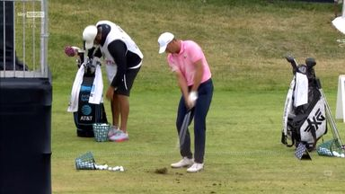 Spieth takes divots out of the range!