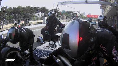 Verstappen jumps Hamilton through pit stop